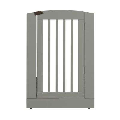 Ruffluv 36 in. H Wood Freestanding Single Panel Grey Pet Gate with Door