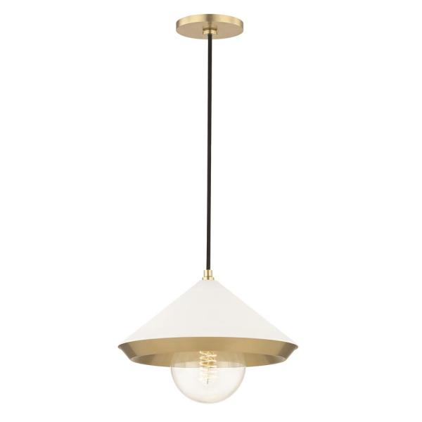 Marnie 1-Light Aged Brass Large Pendant with White Shade