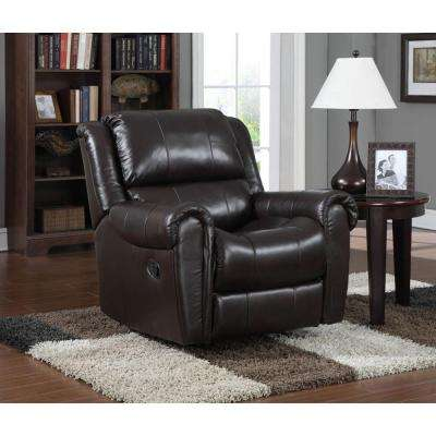 Dark Chocolate Brown Leather Rocking Recliner