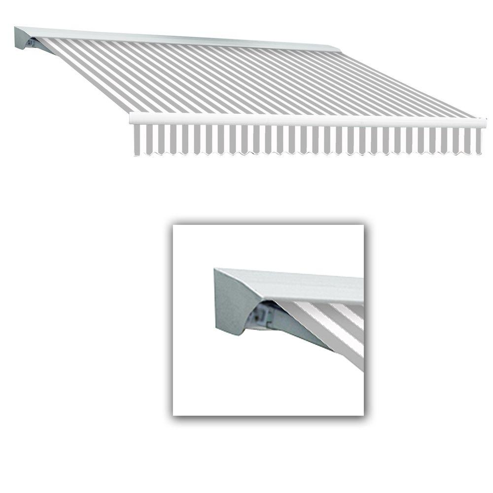 AWNTECH 10 ft. LX-Destin with Hood Left Motor with Remote Retractable Acrylic Awning (96 in. Projection) in Gray/White