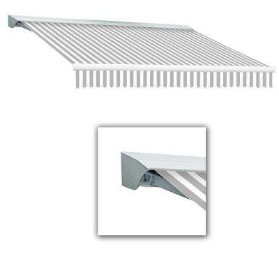 12 ft. Destin with Hood Left Motor with Remote Retractable Acrylic Awning (120 in. Projection) in Color Gray/White