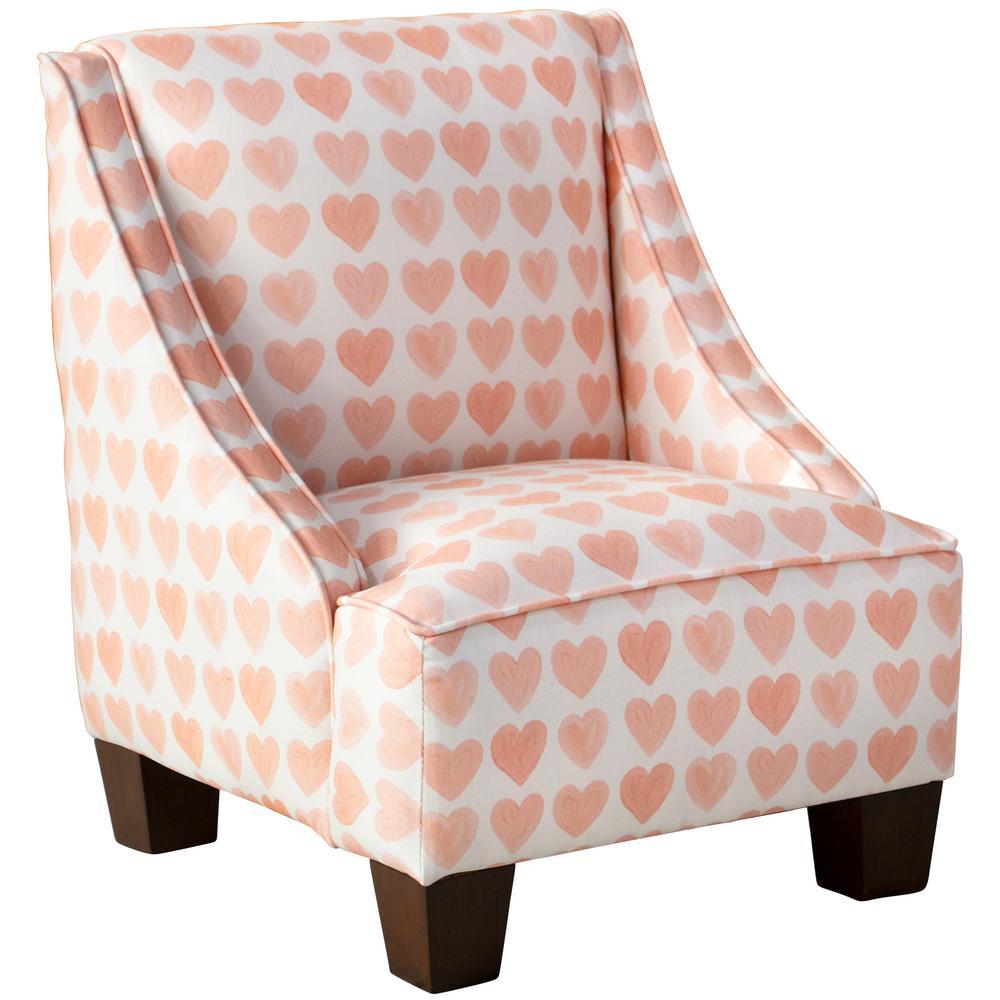 Hearts Peach Kid's Swoop Arm Chair