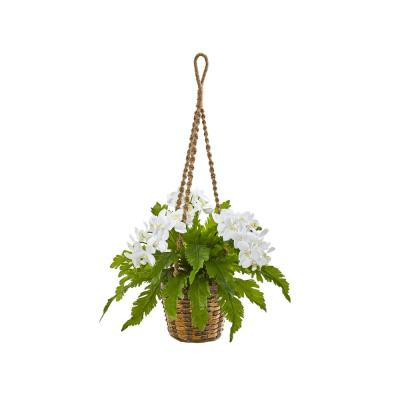 29 in. Phalaenopsis Orchid and Fern Artificial Plant in Hanging Basket