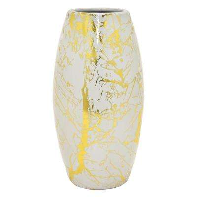 10.5 in. White Ceramic Vase