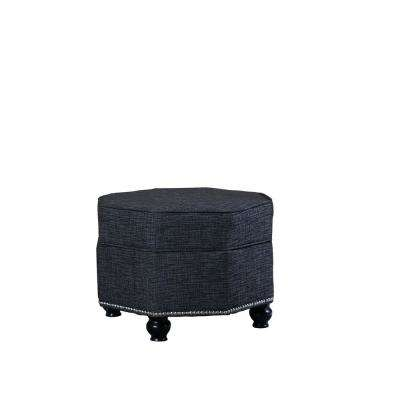 16.5 in. Blue Gray Hexagon Storage Ottoman