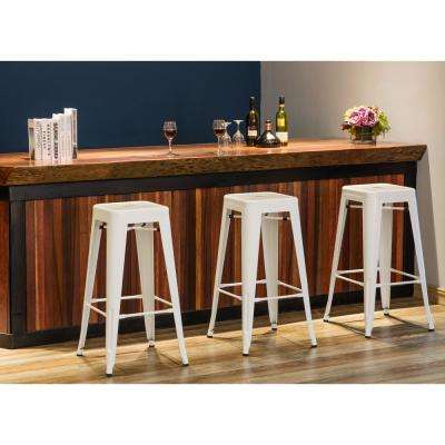 Stackable White Indoor/Outdoor Metal Stool