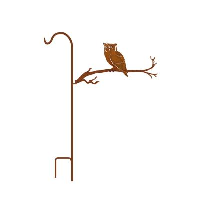 50 in. Tall Yellowish Brown Rust Steel Shepherd's Hook with Owl on Branch
