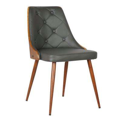 Lily 31 in. Gray Faux Leather and Walnut Wood Finish Mid-Century Dining Chair