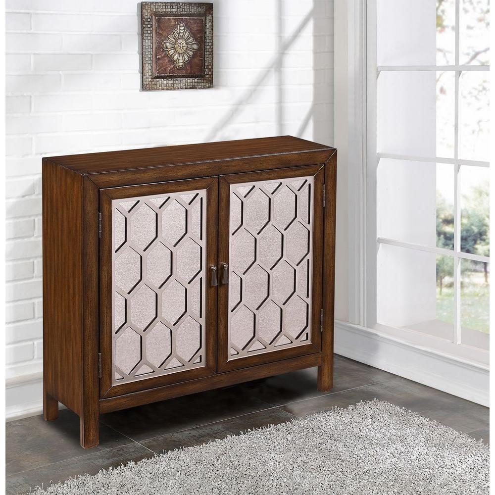 Brown Mirrored Storage Cabinet