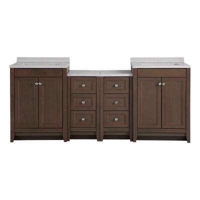 Delridge Bath Suite with 2 - 24 in. W Bath Vanities with Vanity tops, and 2 Linen Towers in Flagstone