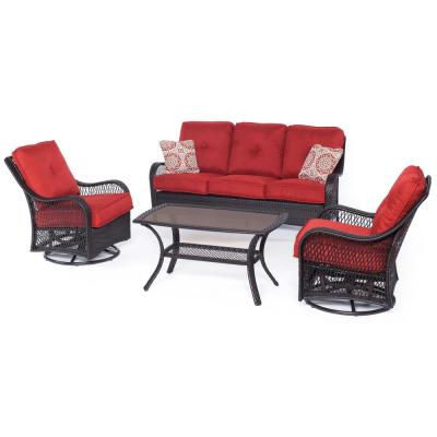 Orleans 4-Piece All-Weather Wicker Patio Deep Seating Set with Autumn Berry Cushions