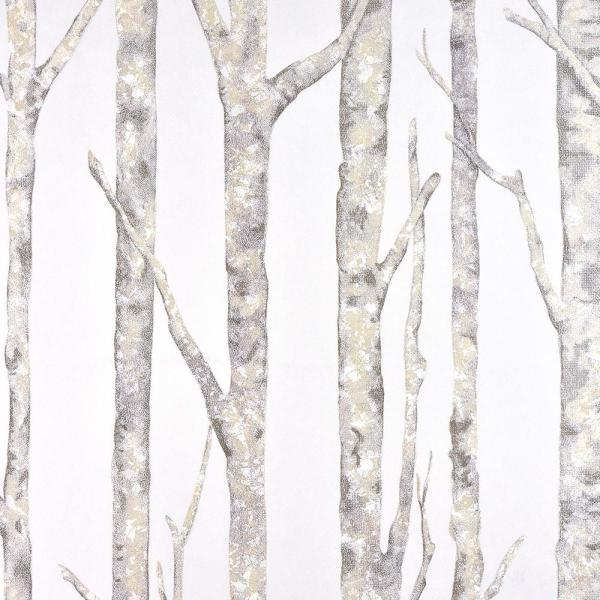 Advantage 8 in. x 10 in. Cameron Off-White Trees Wallpaper Sample