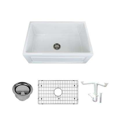Logan All-in-One Farmhouse/Apron-Front Fireclay 30 in. Single Bowl Kitchen Sink in White