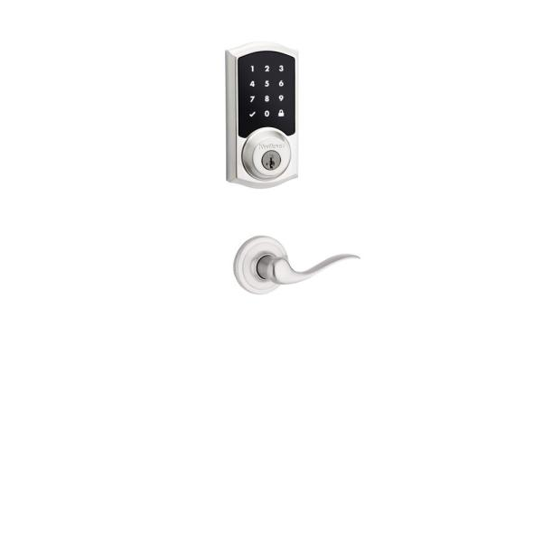 Premis Touchscreen Smart Lock Satin Nickel Single Cylinder Electronic Deadbolt featuring Tustin Hall/Closet Lever