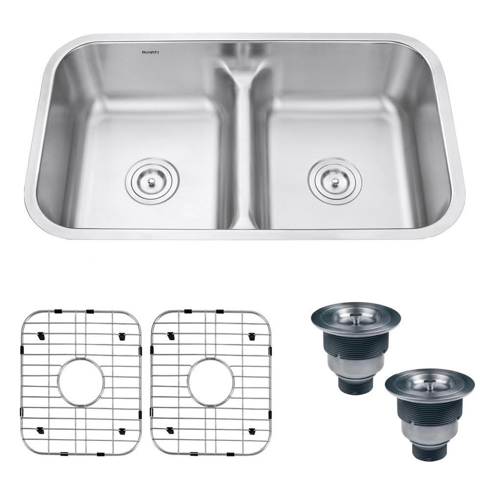 Ruvati Ruvati Undermount Stainless Steel 32 in. 16-Gauge 50/50 Low Divide Double Bowl Kitchen Sink, Brushed Stainless Steel