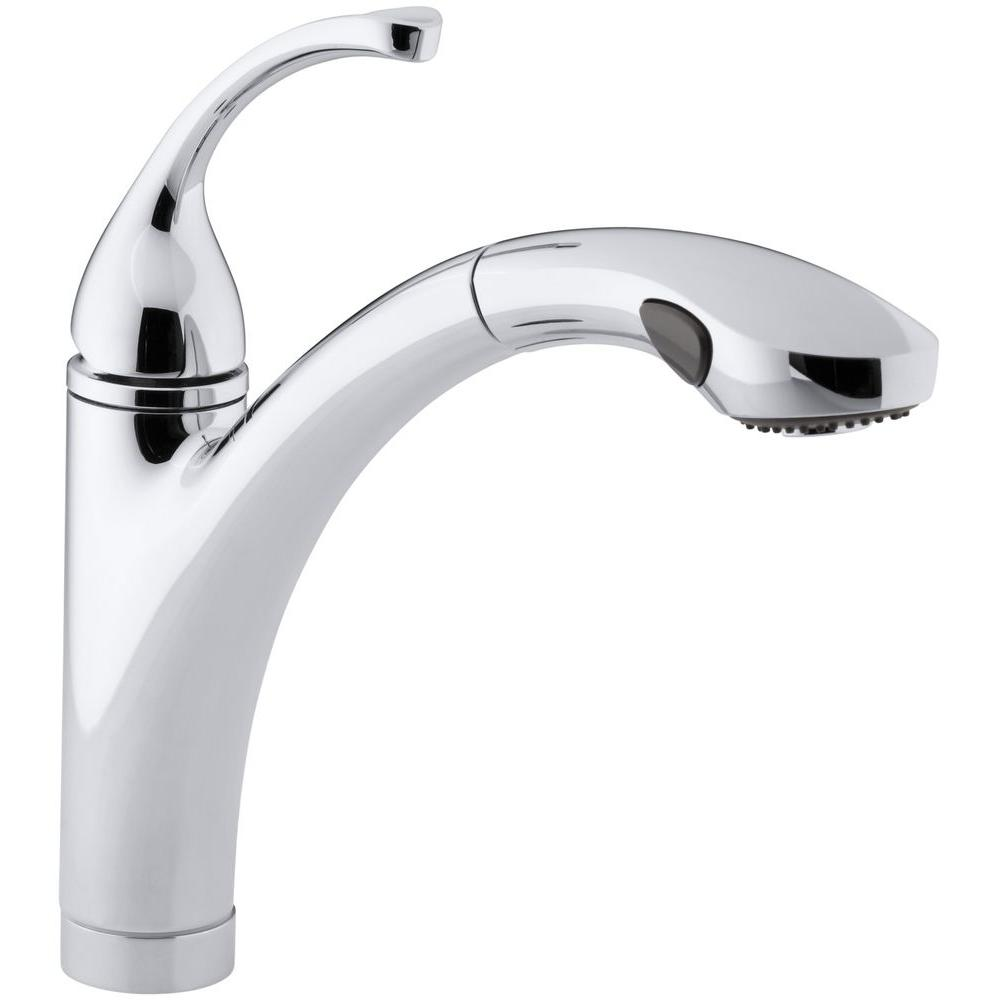 Kohler Forte Single Handle Pull Out Sprayer Kitchen Faucet In Polished Chrome