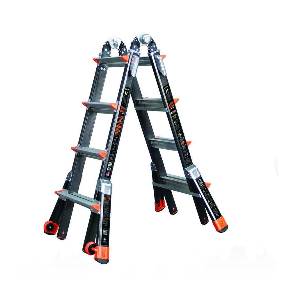 werner 17 ft aluminum telescoping multi position ladder. Black Bedroom Furniture Sets. Home Design Ideas