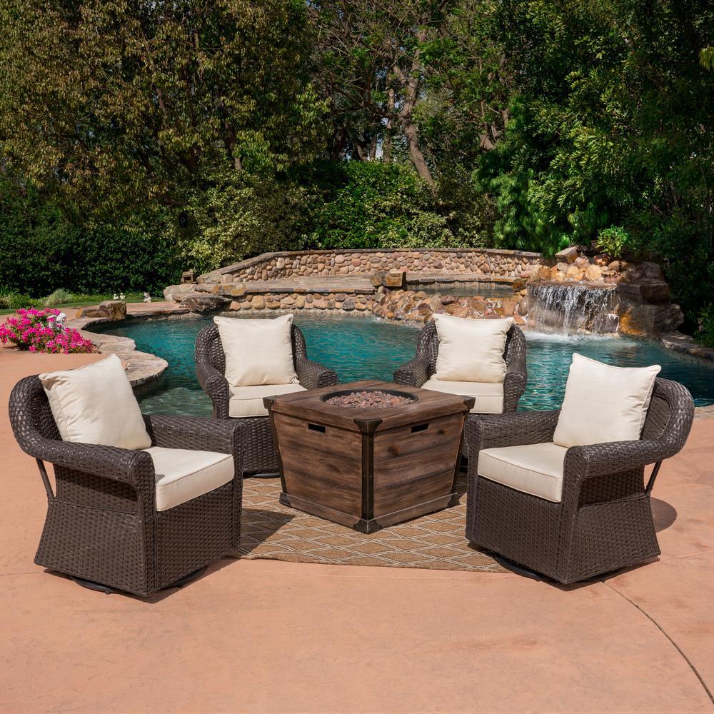 Blanca Dark Brown 5-Piece Wicker Patio Fire Pit Conversation Set with Beige Cushions