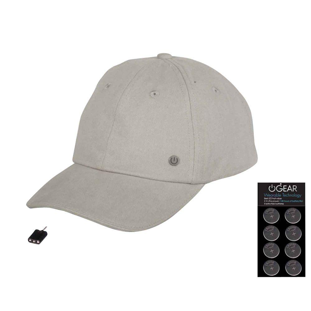 Quest Products Power Gear Coin Battery Hat with Attachable LED Light, Grey, Gray