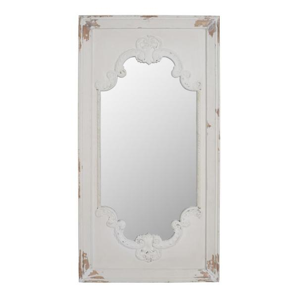 Large Novelty White Mirror (54.3 in. H x 28.7 in. W)