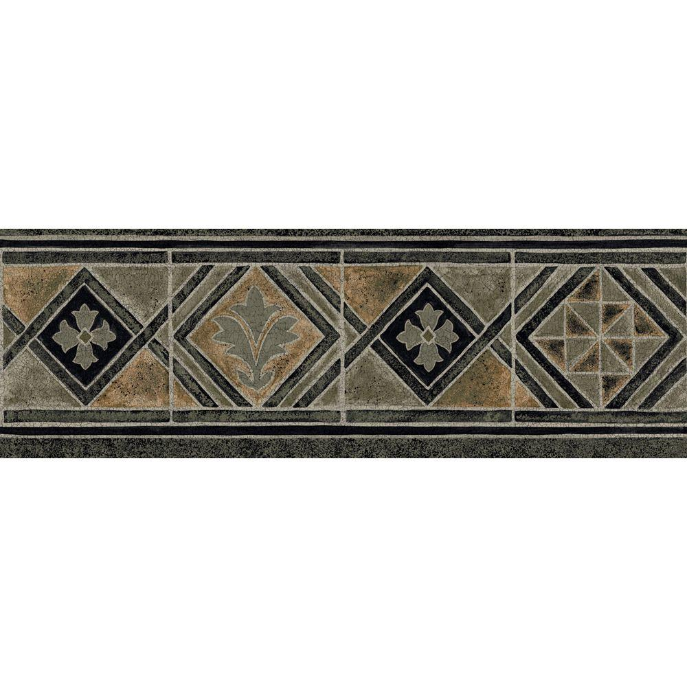 The Wallpaper Company 6.8 in. x 15 ft. Earth Tone Moroccan Tile Border