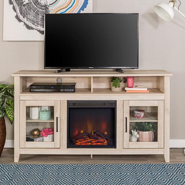Walker Edison Furniture Company Modern Farmhouse Tall Fireplace Tv Stand White Oak Hd58fp18hbwo The Home Depot
