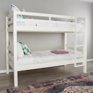 Perfect Walker Edison Furniture Company White Twin Over Twin Solid Wood Mission  Design Bunk Bed HDWTOTMSWH   The Home Depot