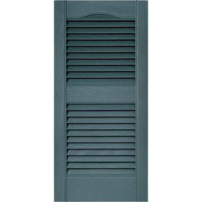 15 in. x 31 in. Louvered Vinyl Exterior Shutters Pair in #004 Wedgewood Blue