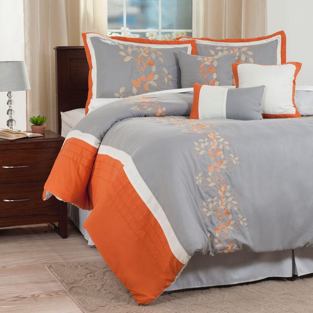 Lavish Branches 7-Piece Orange Embroidered King Comforter...