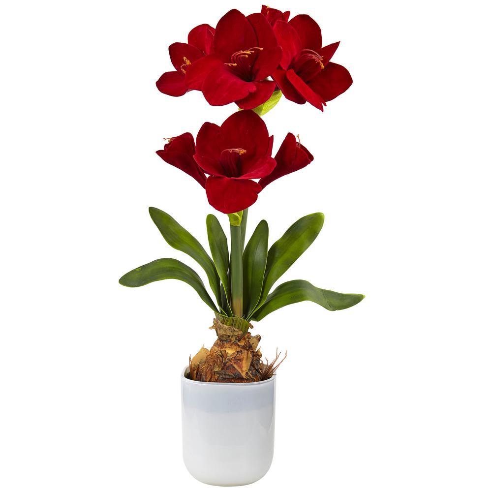 Nearly natural silk amaryllis floral arrangement 4878 the home depot nearly natural silk amaryllis floral arrangement mightylinksfo