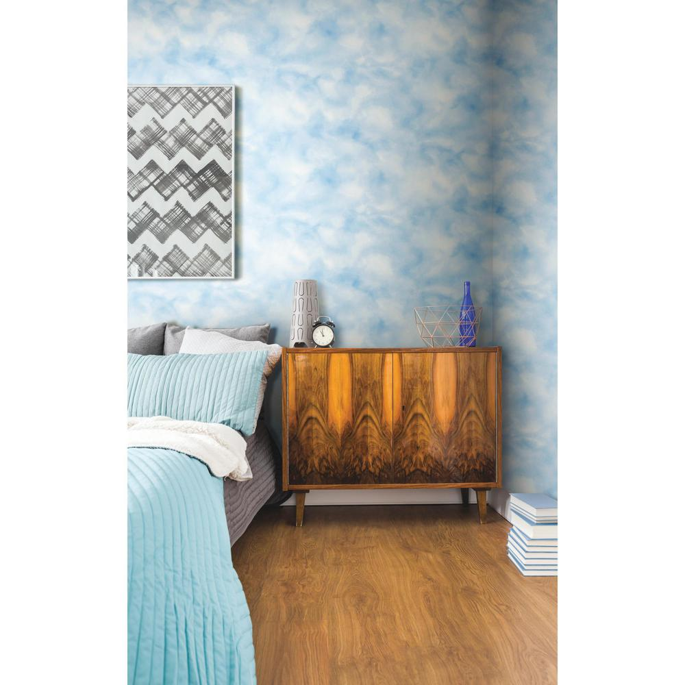Roommates sq ft cloud blue peel and stick for Teal peel and stick wallpaper