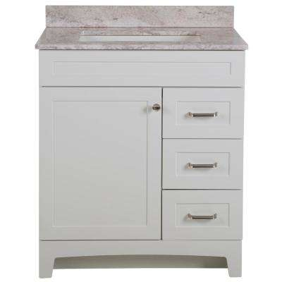 Thornbriar 31 in. W x 39 in. H Bathroom Vanity in White with Stone Effects Vanity Top in Winter Mist with White Sink