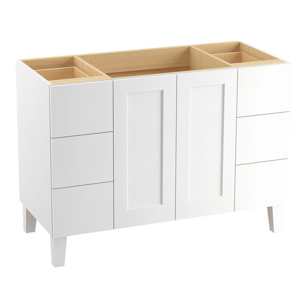 Poplin 48 in. W Bath Vanity Cabinet in Linen White