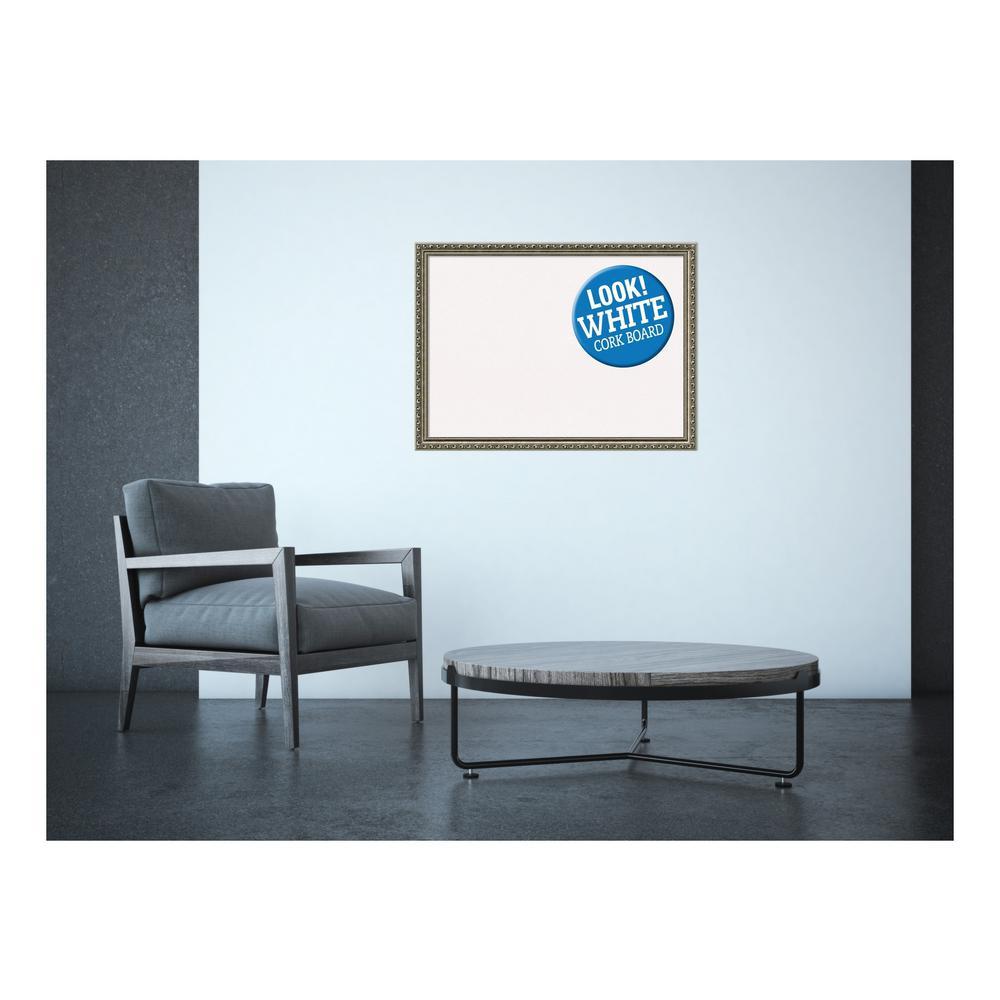 Parisian Silver Wood 31 in. x 23 in. Framed White Cork Memo Board