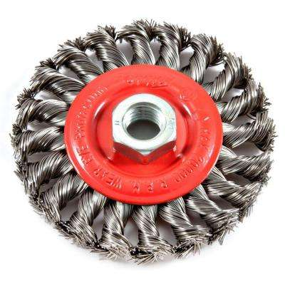 4 in. x 5/8 in.-11 Threaded Arbor Twist Knot Wire Wheel Brush