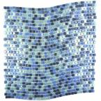 Galaxy Uranus Blue Wavy Square Mosaic 0.3125 in. x 0.3125 in. Iridescent Glass Wall Tile (1 Sq. ft.)