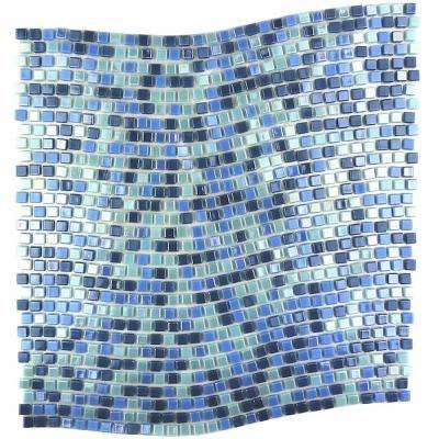 Constellation Wavy Blue Green  Mix 11.7 in. x 11.7 in. x 3.20 mm Glass Mosaic Tile