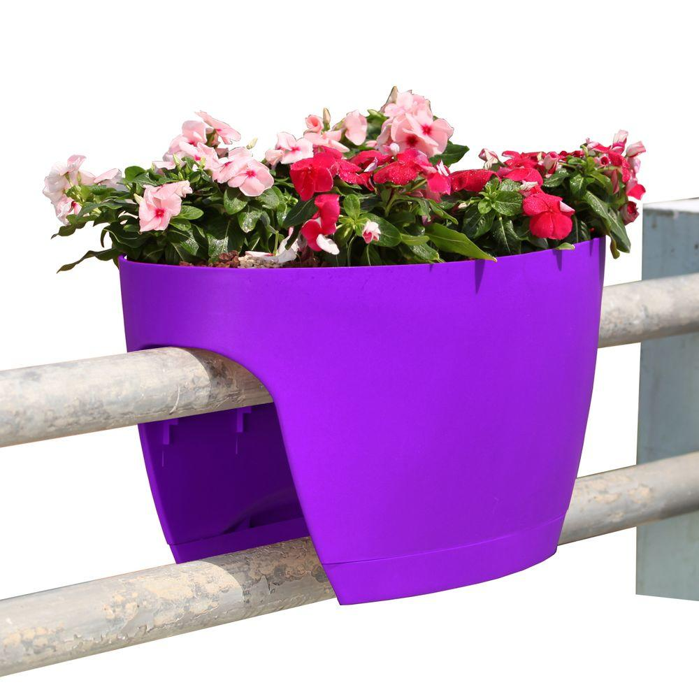 Greenbo Xl Deck Rail Planter Box With Drainage Trays 24 In Color Purple