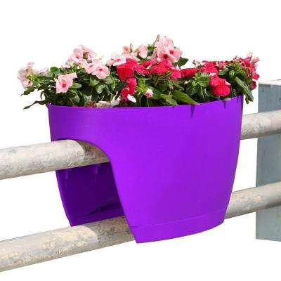 XL Deck Rail Planter Box with Drainage Trays, 24 in., Color Purple - Set of 2