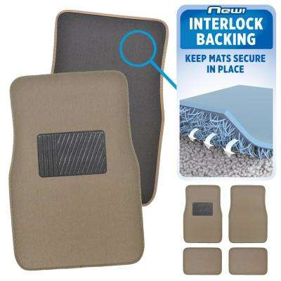 MatLock MT-120 Medium Beige Carpet with Non-Slip Backing 4-Piece Car Floor Mats