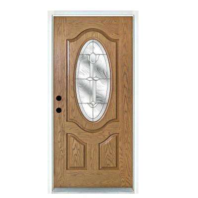 36 in. x 80 in. Flores Light Oak Left-Hand Inswing 3/4 Oval Lite Decorative Fiberglass Prehung Front Door