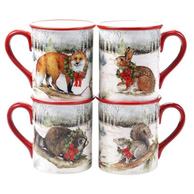 16 oz. Winter Forest Multicolored Earthenware Mugs (Set of 4)