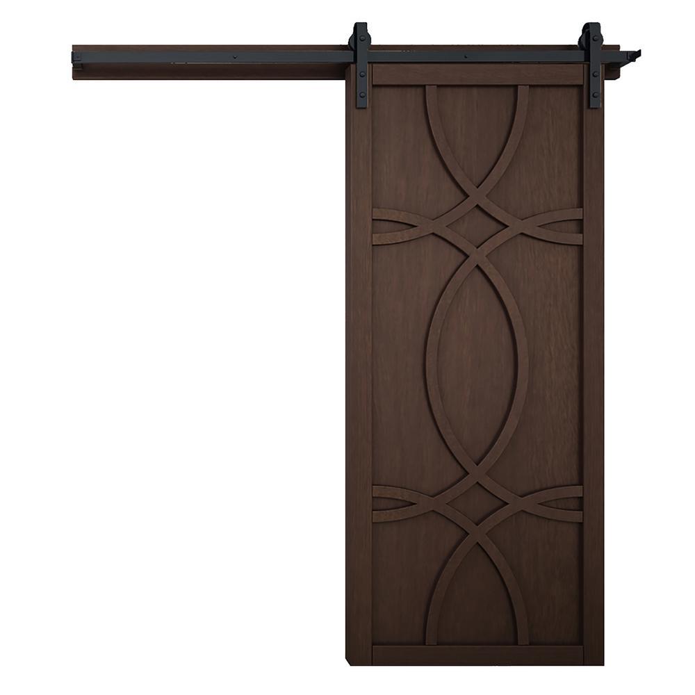 42 in. x 84 in. Hollywood Sable Wood Barn Door with Sliding Door Hardware Kit