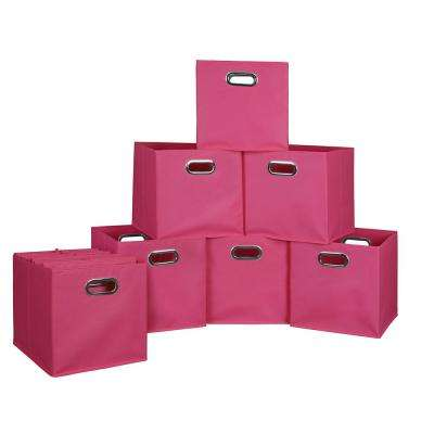 Cubo 12 In. X 12 In. Pink Foldable Fabric Bins (12 Pack