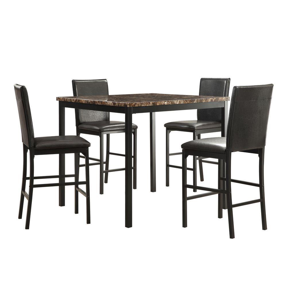 Bedford 5-Piece Black Bar Table Set