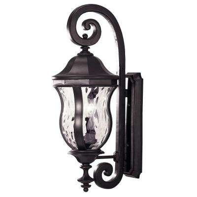 3-Light Black Wall-Mount Lantern with Clear Watered Glass