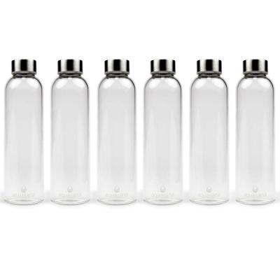 18.5 oz. Water Bottles-Premium Borosilicate Glass (6-Pack)