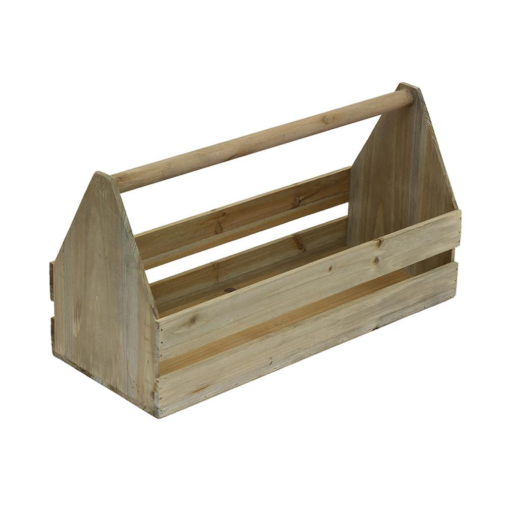 Crate and Pallet 18 in. x 7 in. x 9-1/2 in. Decorative Crate Toolbox in Weathered Gray