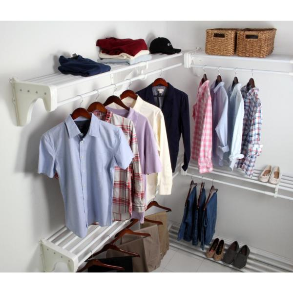 Expandable Closet Rod and Shelf Units with 1 End Bracket Finish White