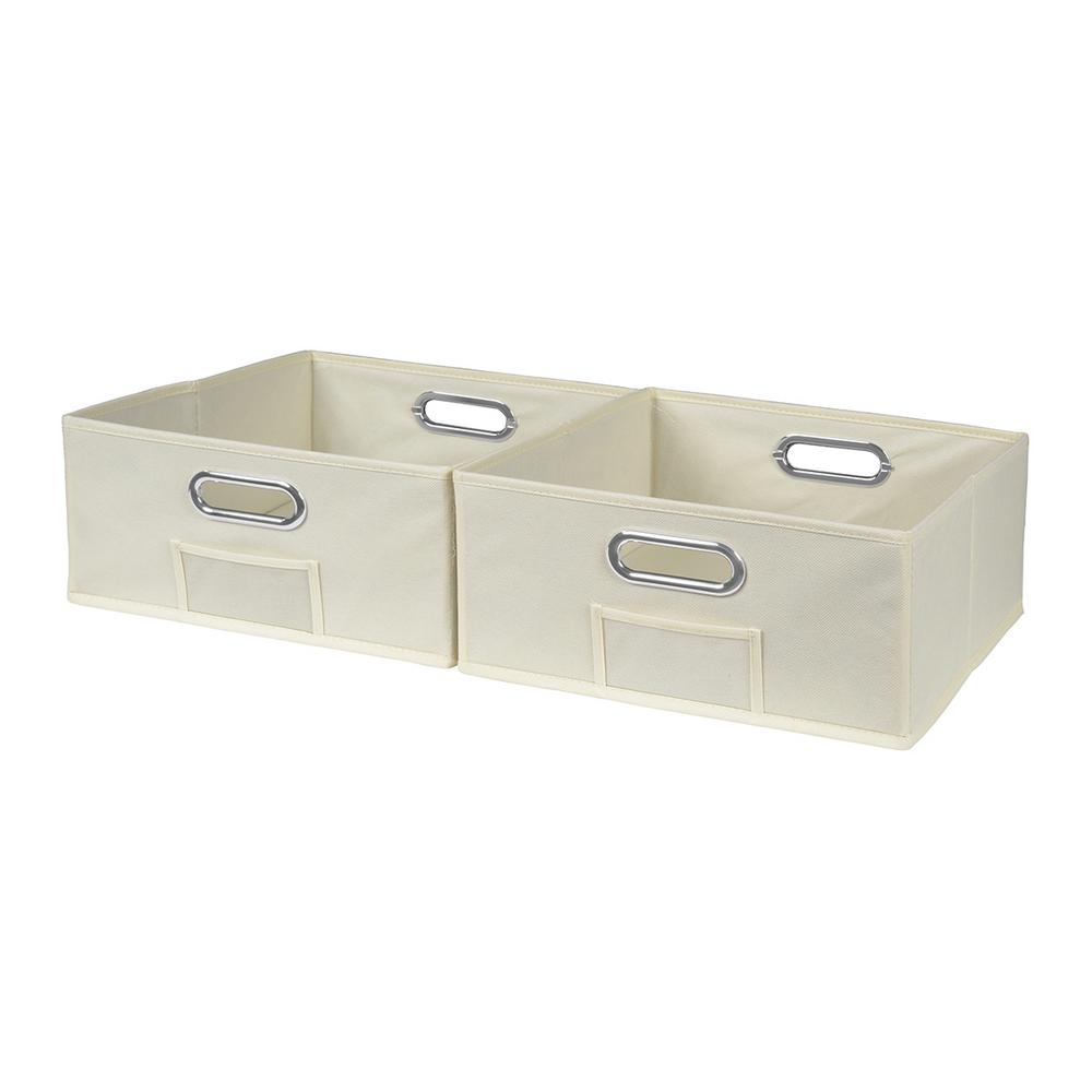Cubo 12 in. x 6 in. Beige Folding Fabric Bin (2-Pack)